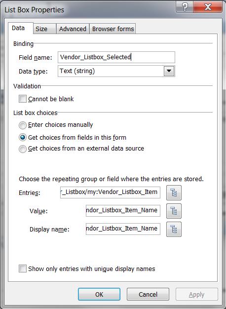 Vendor_Listbox Binding