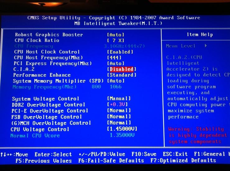 BIOS OC Screen