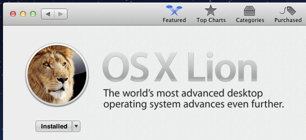 Lion Installed (App Store)