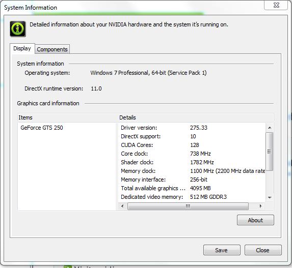 NVIDIA GTS 250 Specs