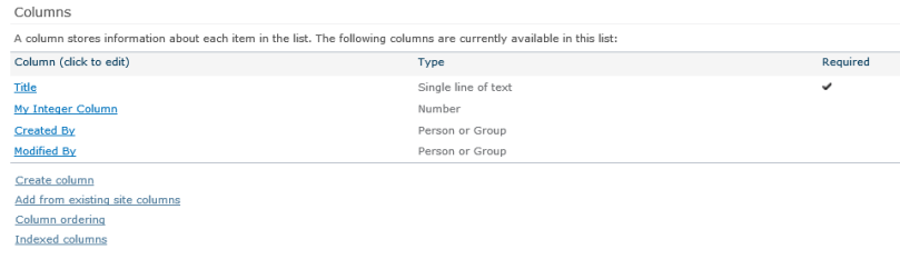 "Click the ""Indexed columns"" link at the bottom of the ""Columns"" section on the list settings page."