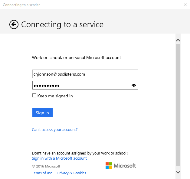 Connecting to a service