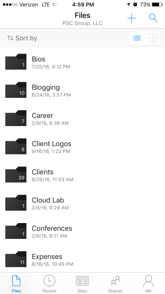 OneDrive files in the OneDrive iOS app