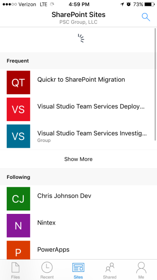 Accessing SharePoint files in the OneDrive iOS app