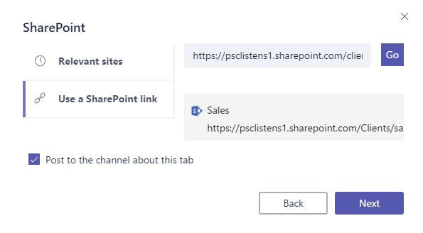 Add sharepoint site