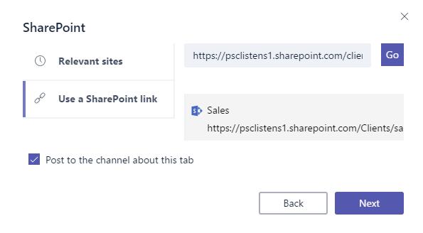 Add sharepoint site