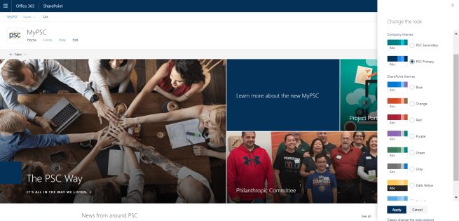 Custom theme applied to SharePoint Online communication site.