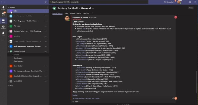 Use Microsoft Teams to run your office Fantasy Football